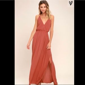 Lulu's Lost in Paradise Rusty Rose Maxi Dress